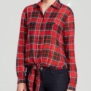 Michael Kors Plaid Front Tie Shirt